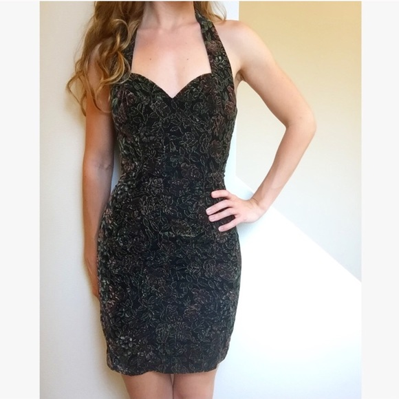 Really. Vintage metallic lace halter dress sorry, this